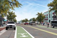 The committee approved plan includes a skip dash green pattern rather than a continuous green lanes as shown in this earlier rendering of the North Avenue project.