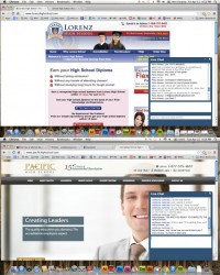 The same advisor's name—in this case, Felix Green—comes up in chat sessions at different online school sites. (Click to enlarge) (Online image captures 4/15/14 and 4/22/14 by Scottie Lee Meyers)