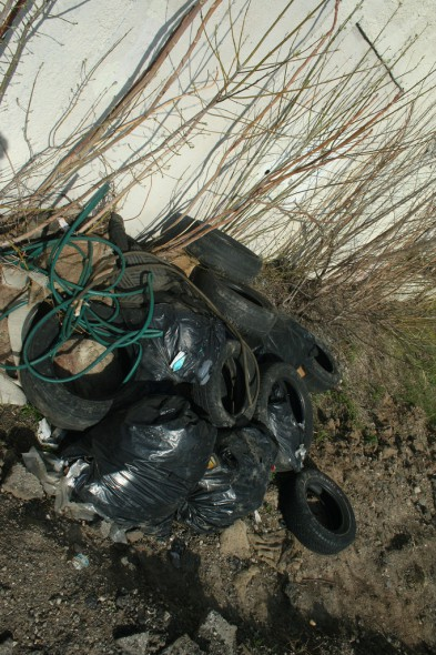 """The """"illegal dumping hotspot"""" at the southwest corner of 3456 N. Buffum. Photo by Adam Carr."""