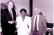 Minnie Beard, with former Mayor John Norquist and Alderman Don Richards, celebrated the purchase of her home in 1994. (Photo courtesy of the Housing Authority)