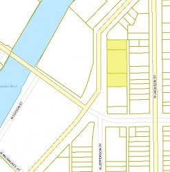 The location of The Rhythm (three yellow parcels) on N. Water St.