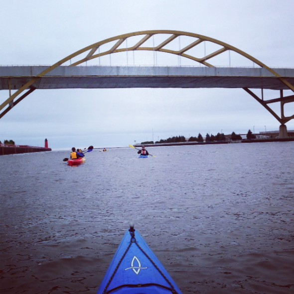 Kayaking toward the Hoan.  Photo courtesy of Beth Handle.