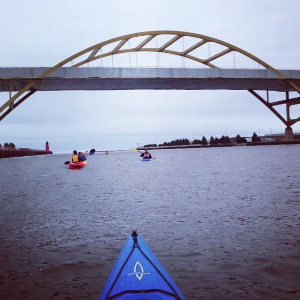Kayaking toward the Hoan.  Photo courtesy of Beth Handle.