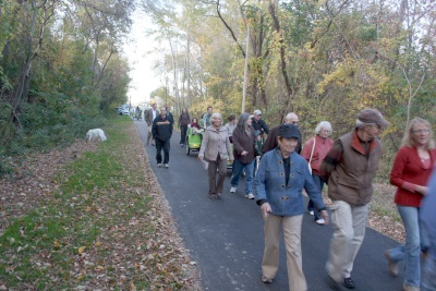 A large crowd turned out to walk the trail for the first time.