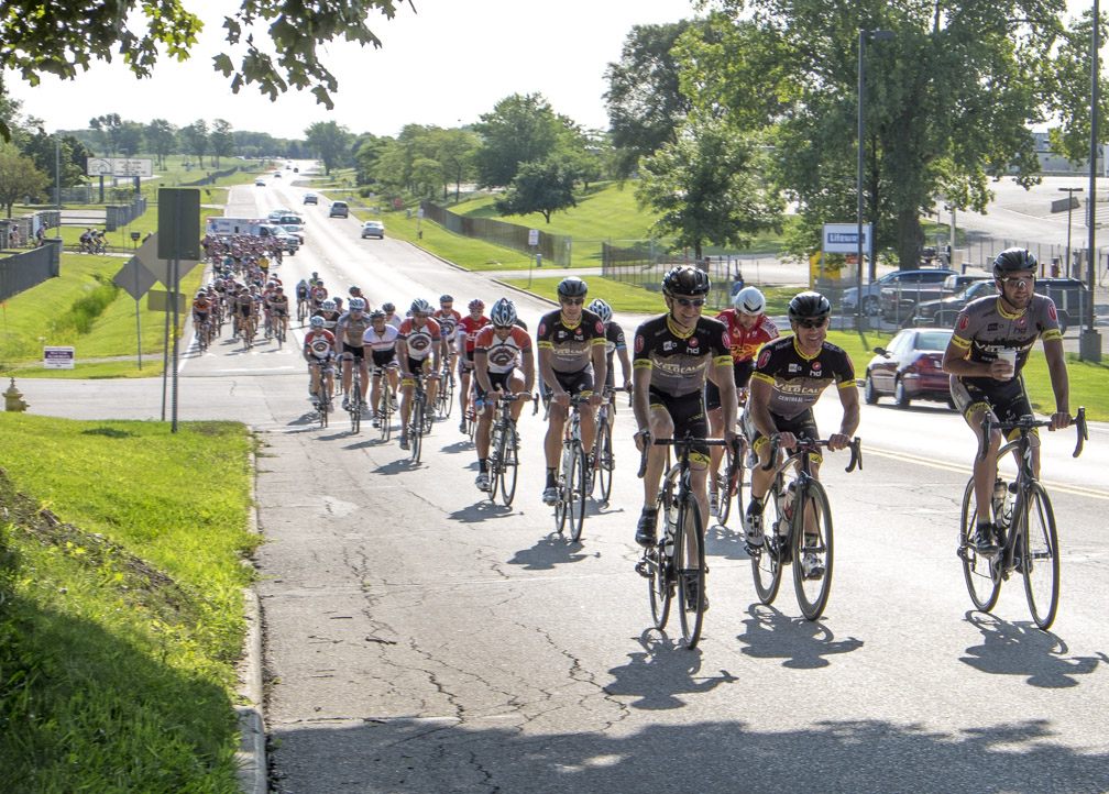 It was perfectly appropriate for Team Velocause to lead out the ride since they are all fast and a team of business professionals who race to give back to charities. (Photo taken by Dave Schlabowske)