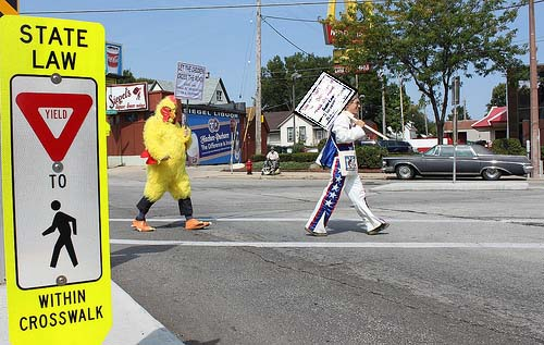 Why did the chicken cross the road? To get to the other side of course. You shouldn't have to be a daredevil to cross the street when state law is very clear. - Photo by Dave Schlabowske