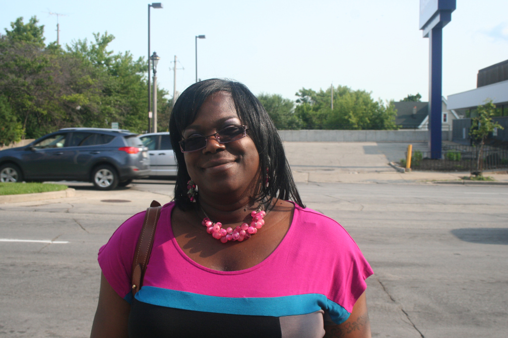 Mia Williams stands near the corner of 26th & Wisconsin in Milwaukee's Avenues West neighborhood.