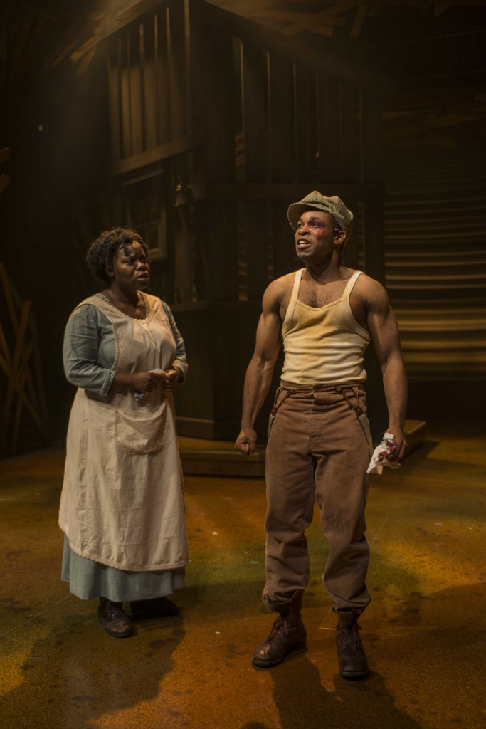 Zonya Love (Celie) and Gilbert L. Bailey II (Harpo) in Milwaukee Repertory Theater's 2014/15 Quadracci Powerhouse production of The Color Purple. Photo by Michael Brosilow.