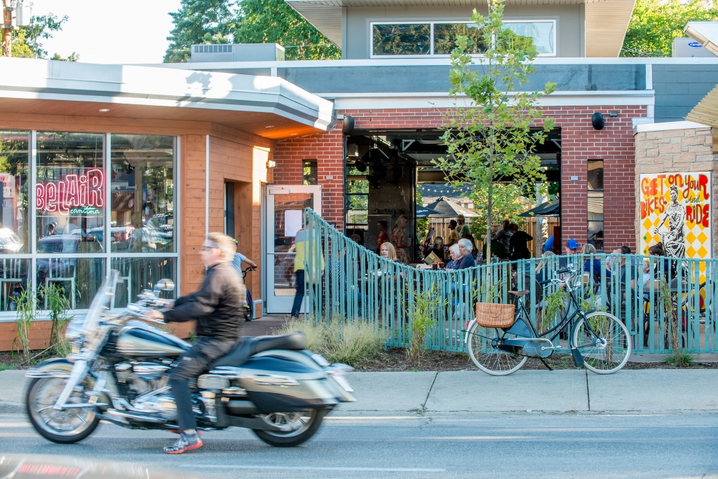 With their expansive patios and tasty margaritas, BelAir Cantina is a popular destination for people on bike and foot.