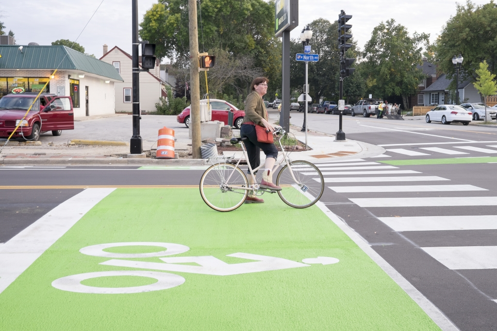 It may take a bit of education for people to learn how to use the bike boxes at 68th and North Avenue.