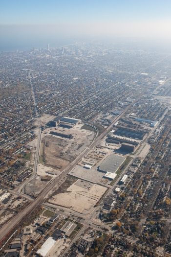 Aerial view of the 30th Street Corridor. Photo courtesy of the Redevelopment Authority City of Milwaukee.