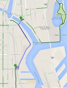 Click to open a Google Map of the final phase of the Bay View to Downtown Connector WisDOT Preferred Alternative.