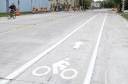 New pavement and bike lanes on S. Water Street.