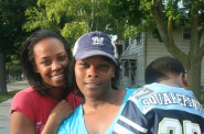 Erika Harvey (left) and Precious Taylor stand on the corner of 61st & Thurston in Milwaukee's Silver Spring neighborhood.