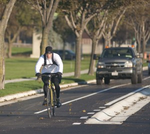 The raised bike lane on Bay Street in the Bay View neighborhood.