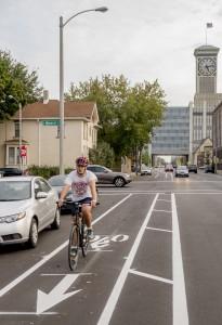 Bucky loves buffered bike lanes.