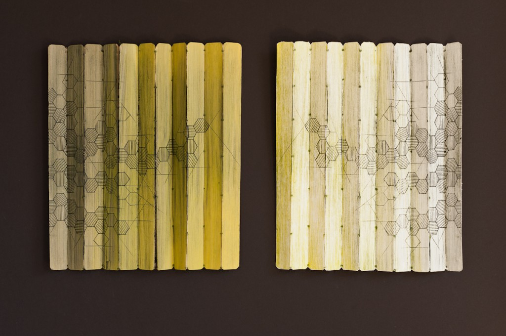 Community, Engraved Palm Leaves, intaglio and collograph print, 14X32""
