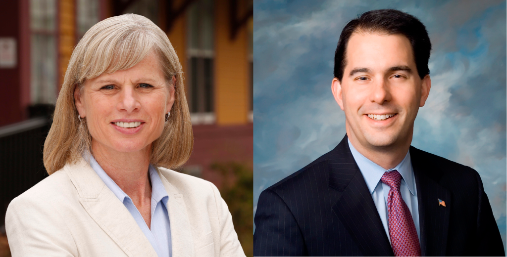 Mary Burke and Gov. Scott Walker.