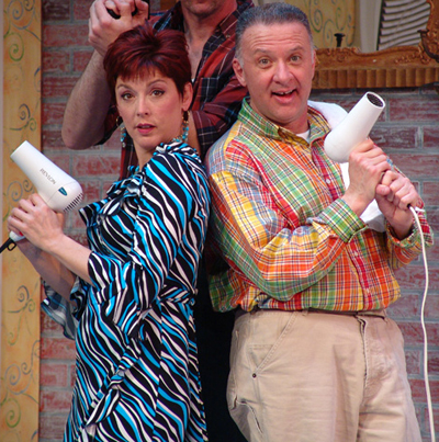 "Mary MacDonald Kerr and John McGivern in a 2009 production of ""Shear Madness."""