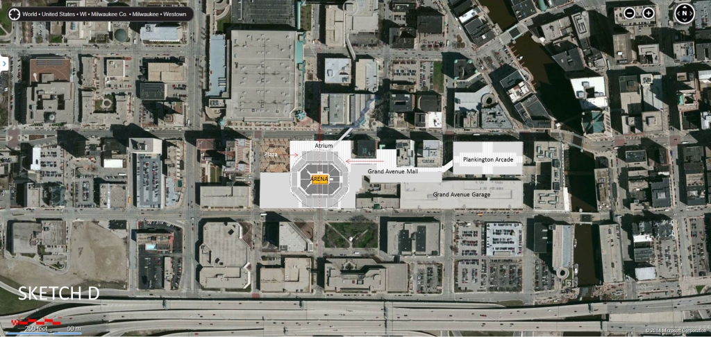Sketch D removes the Boston Store, but has a major entry plaza to the NW facing the Hilton Hotel. This plan then has an atrium along Wisconsin Ave. that can be entered from the new NW Plaza, Wisconsin Ave., the skywalk system, and from the Grand Avenue Atrium. Plans by Jim Shields.
