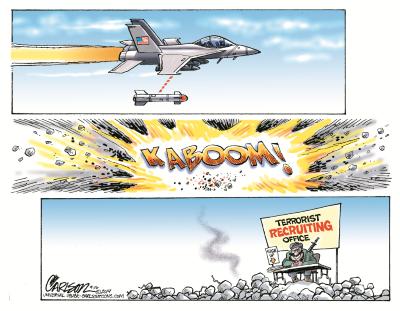 Terrorist Recruiting Center. Cartoon by Stuart Carlson.