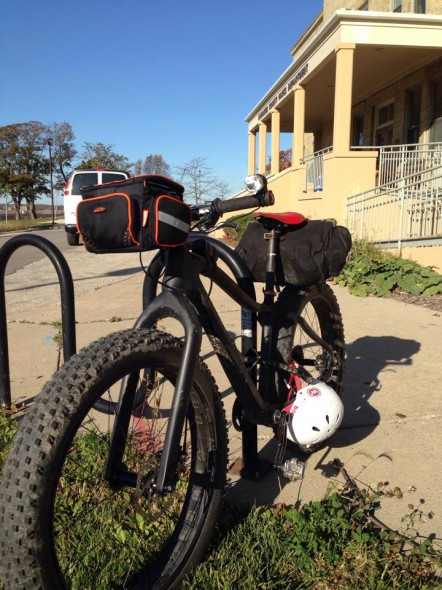 My Fyxation Blackhawk fat bike parked outside the County Administration Bldg. before our meeting Wednesday.