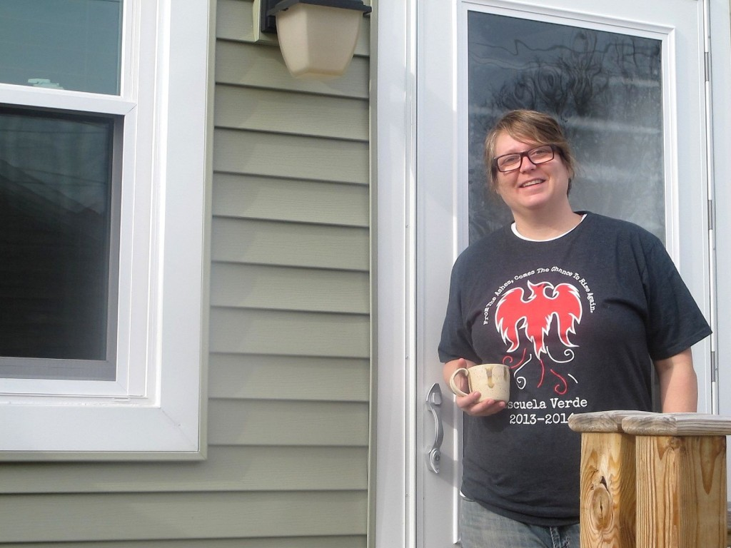 Joey Zocher, who teaches at the nearby Escuela Verde, said she purchased her Turnkey home in July to become part of the LBWN community. (Photo by Edgar Mendez)