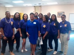 Students and Principal Tonya Adair (center) at Washington's IT Academy induction