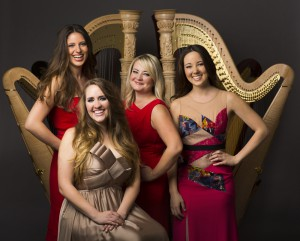 The Chicago Harp Quartet - L to R; Kelsey Molinari, Emily Ann Granger, Marguerite Lynn Williams, Cathy Litaker