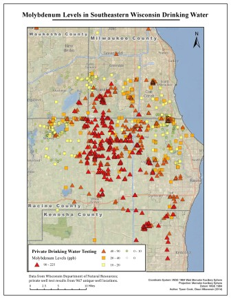 A map from the Clean Wisconsin report shows molybdenum test results in southeastern Wisconsin.