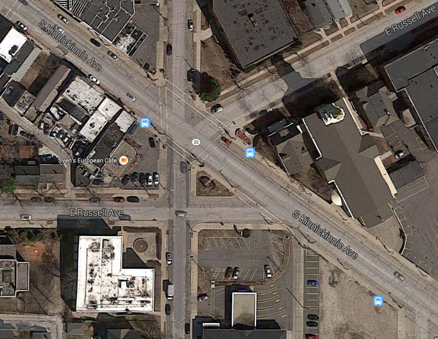 S. Kinnickinnic Ave., S. Logan Ave. and E. Russell Ave. Image from Google Maps.