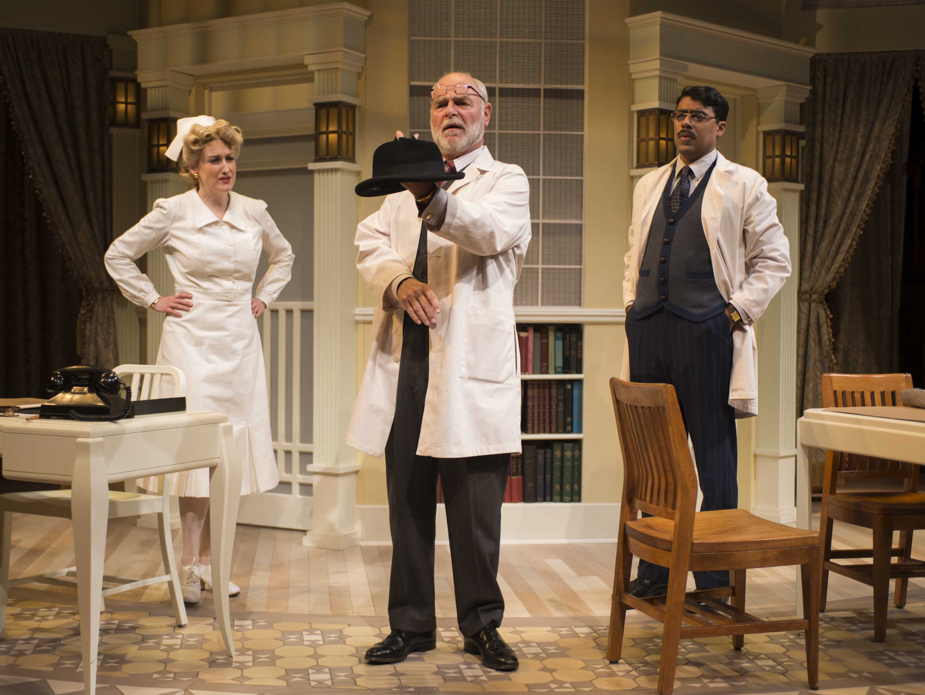 Kelley Faulkner, James Pickering and Gabriel Ruiz in Milwaukee Repertory Theater's 2014/15 Quadracci Powerhouse production of Harvey. Photo by Michael Brosilow.