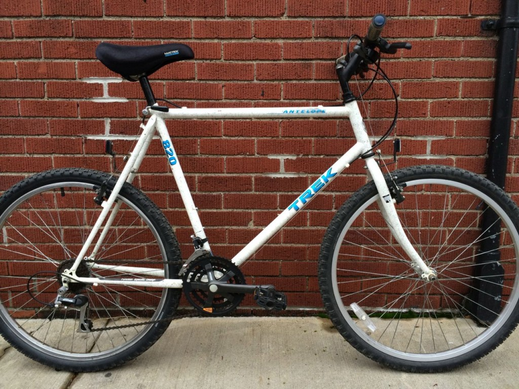 It is telling that although I was a professional photographer when I bought my 1992 Trek 820 Antelope (mine had a rear Blacburn rack and lights on it), I don't have any photos of it, just pictures of my car! I only bought this bike so I could ride home after a few beers and not worry about hurting anyone.