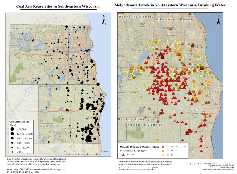 In 2014, Clean Wisconsin, an environmental advocacy group, studied nearly 1,000 private wells in southeastern Wisconsin and mapped 399 coal ash disposal sites. Based on the study, the group said wells closer to disposal sites showed higher levels of molybdenum, a toxic metal found in coal ash. Photo by Tyson Cook / Clean Wisconsin.