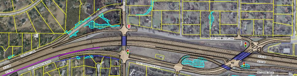 County Line Road Interchange - split diamond hybrid option 2