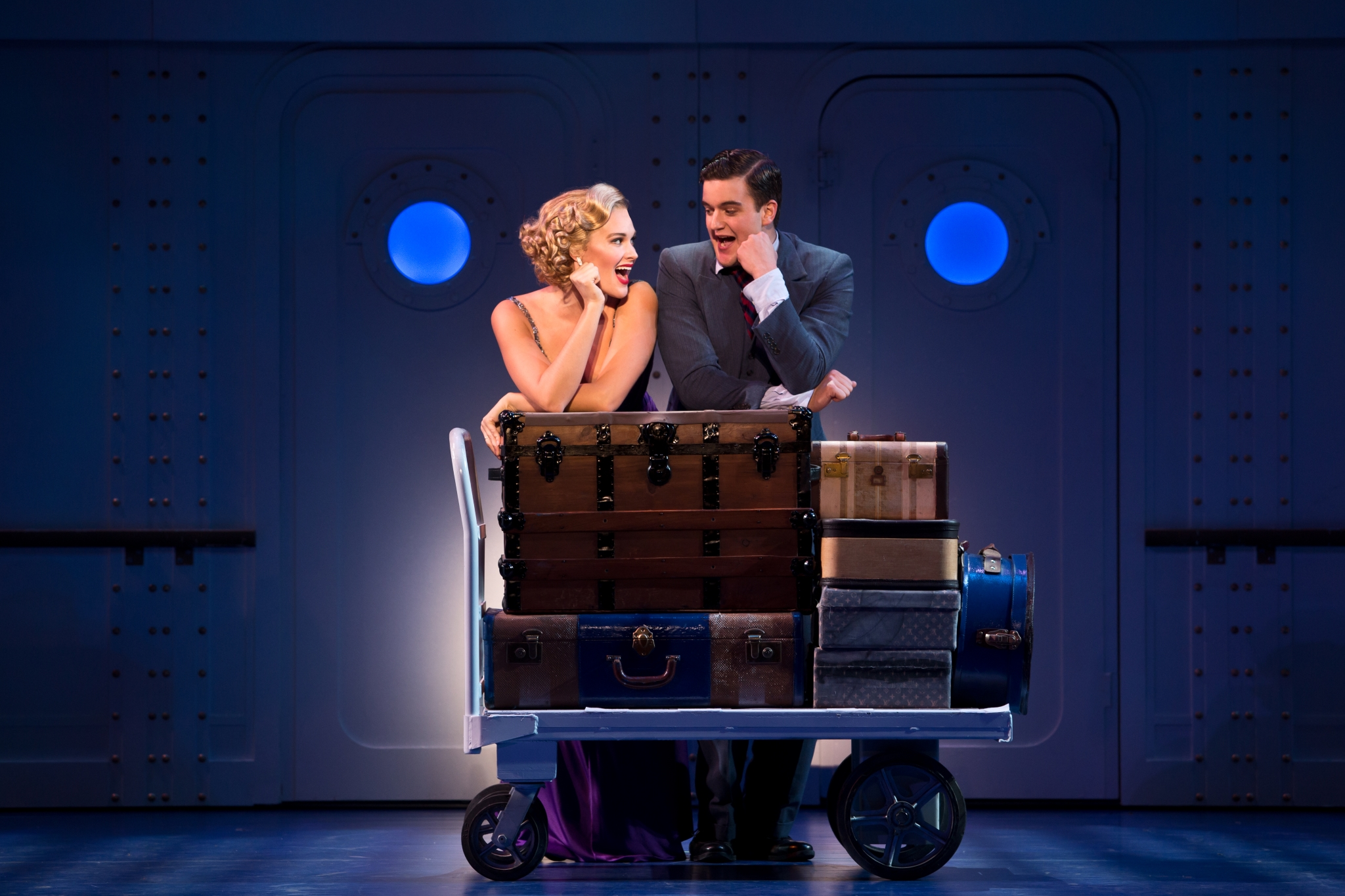 Emma Stratton as Reno Sweeney and Brian Krinsky as Billy Crocker in the National Tour of ANYTHING GOES. Photo Credit: Jeremy Daniel