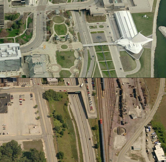 Downtown Milwaukee (above) and the equivalent geographic space in downtown Waukegan (below). Waukegan's lakefront is dominated by a restricted access highways (planned in Milwaukee, but never built), and active rail lines (historically present, but long since removed from Milwaukee's downtown lakefront), and active and vacant industrial land.