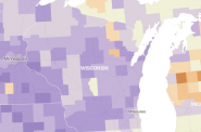 Percent of employed working-age women by county. Map from New York Times. (Click to see a US wide interactive map)