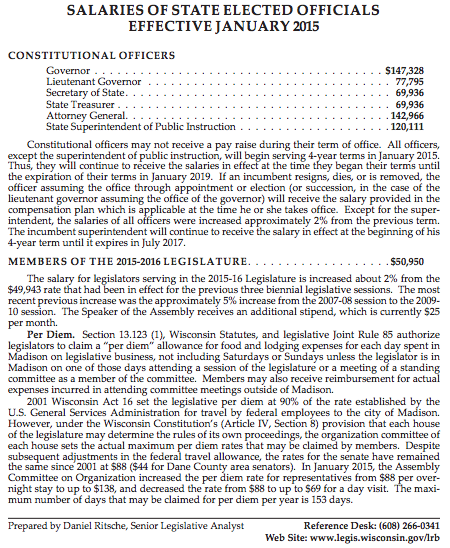 A Legislative Reference Bureau analysis of compensation for state elected officials was recently updated to include the new per diems.