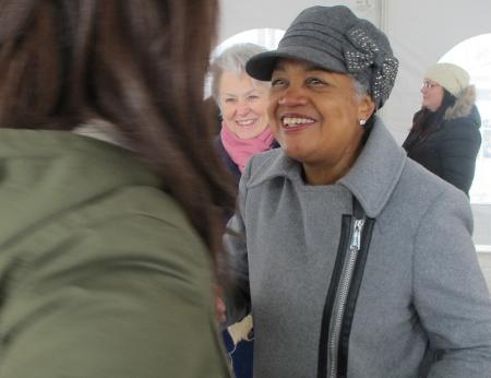 Sharon Adams greets a well-wisher. (Photo by Andrea Waxman)