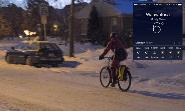 It was still dark and six below when Liz pedaled off for work at 6:45 today. The temps actually dropped to -8 when I left after I published this blog post around 8 AM. Photo by Dave Schlabowske.
