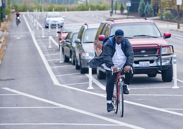 Could Milwaukee we see protected bike lanes in 2015, like this one on Elston Avenue in Chicago? (Photo by Dave Schlablowske)