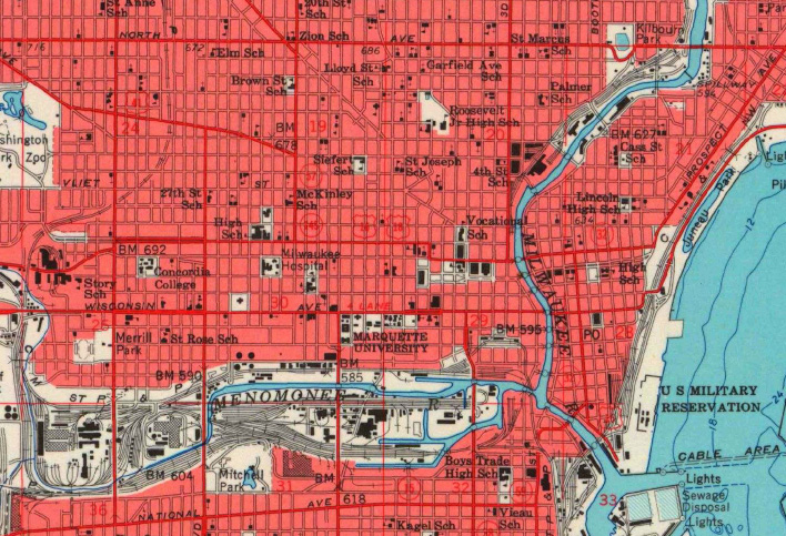Figure 2. Current Milwaukee residents may not fully appreciate the way railroad infrastructure once dominated not only Milwaukee's lakefront, but significant portions of the Milwaukee, Menomonee, and Kinnickinnic Rivers, as shown on this topographic map dated 1958. Although some of this transportation infrastructure has been replaced by highways, the locations have generally shifted away from the lake and river shorelines. (Courtesy of U.S. Geological Survey).