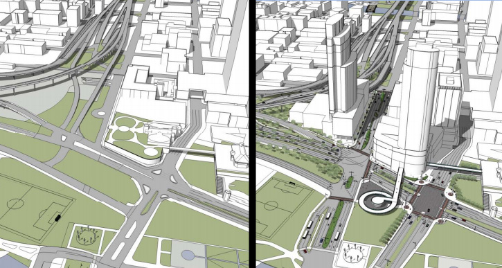 Lakefront Gateway Project before and after view. The after view shows the possible site for the JCI Headquarters and the site of The Couture development.