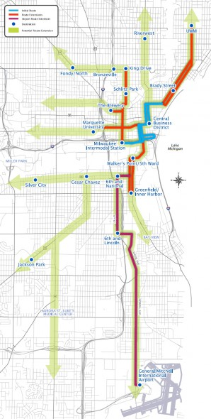 Milwaukee Streetcar Extension Map