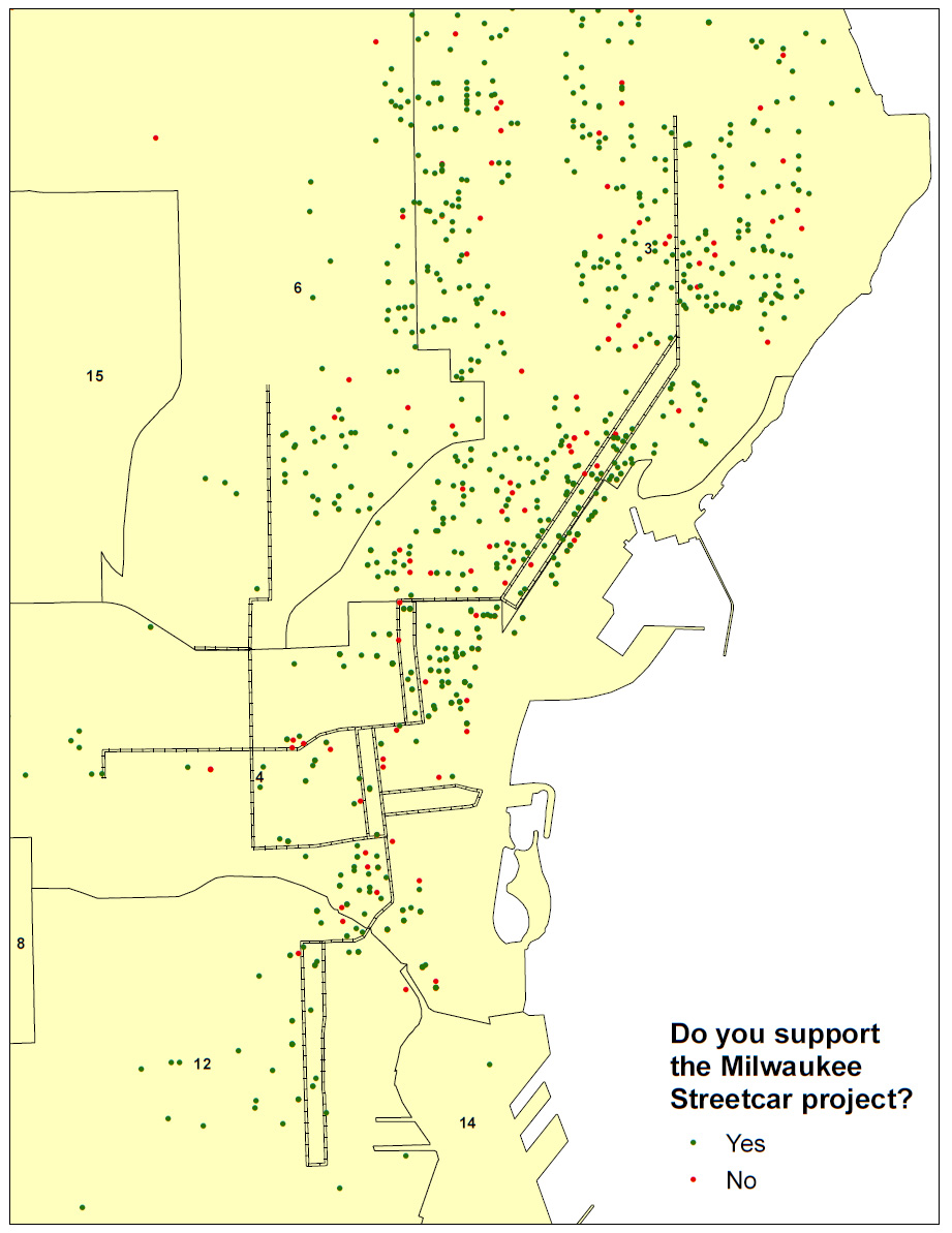 Streetcar Response Map - Near Route and Extensions