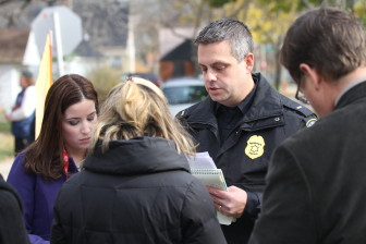 Lt. Mark Stanmeyer talks with reporters at a press conference the day after Laylah Petersen was killed. (Milwaukee Police Department)