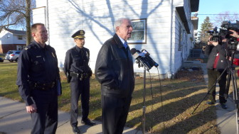 "Milwaukee Mayor Tom Barrett at a Dec. 28 news conference regarding the shooting death of Bill Thao, a 13-month-old. He decried those responsible for firing bullets into a house as having ""no moral compass."" (Chuck Quirmbach/Wisconsin Public Radio)"