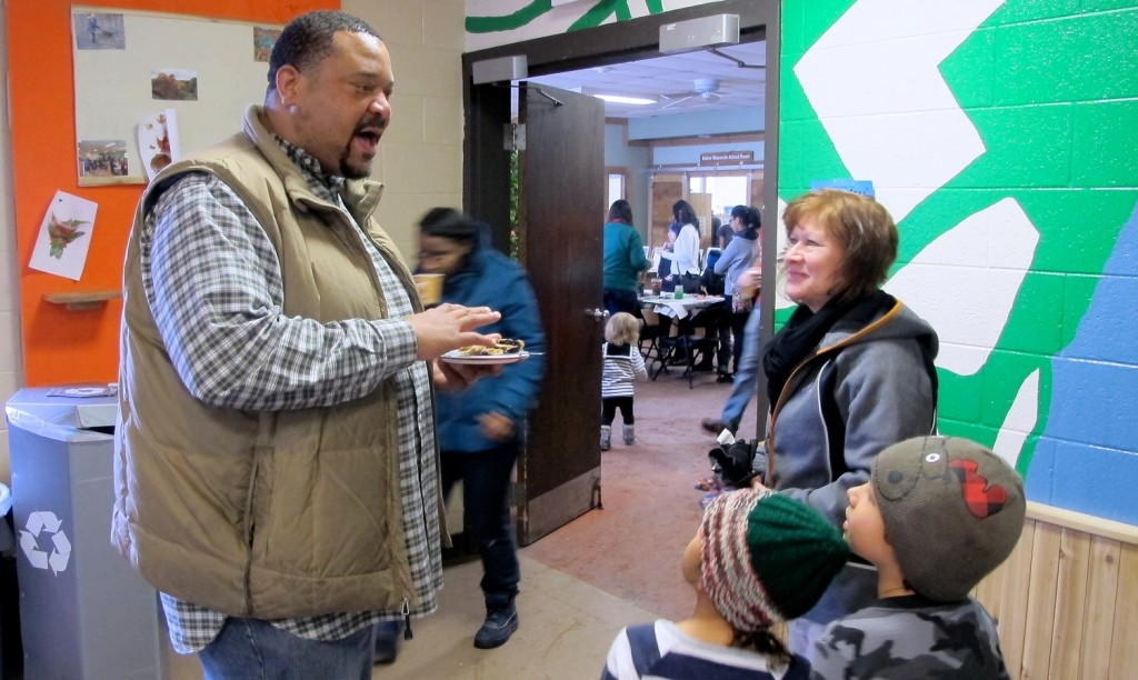 Terry Evans chats with attendees at Winterfest. (Photo by Andrea Waxman)