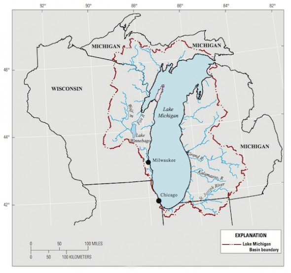 The Lake Michigan Basin and supporting water systems. Image: U.S. Geological Survey